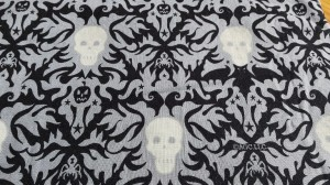 I liked this fabric so much I had it made into a dress. The skulls glow in the dark!
