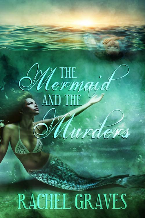 A mermaid rests on the bottom of the ocean, stretching her hand out toward a dead body floating on the waves.