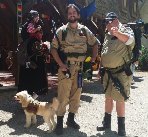 They brought their dog too. He's in a Ghostbusters uniform, but couldn't sit still for the photo. I couldn't blame him.