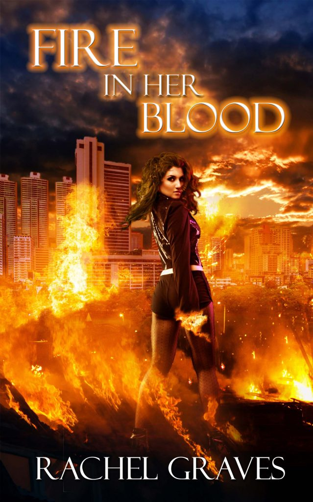The cover shows a young woman standing in the center of a city. She's surrounded by flames as everything burns.
